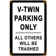'V-Twin Parking Only' Motorcycle Metal Sign