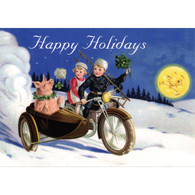 Happy Holidays Pig in Side Car Christmas Postcard