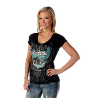 Women's Black Ride Route 66 V-neck Shirt front