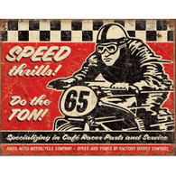 Anvil Moto Motorcycle Company Speed Thrills Tin Sign