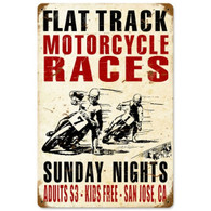 Flat Track Motorcycle Races Metal Sign