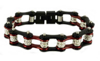 Stainless Steel, Double Crystal, Candy Red on Black Bike Chain Bracelet