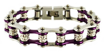 Stainless Steel, Double Crystal, Candy Purple on Black Bike Chain Bracelet