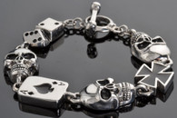 Men's Stainless Steel Two Tone Silver on Black Poker Run Bracelet