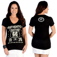 Authentic Route 66 Black Cap Sleeve Shirt