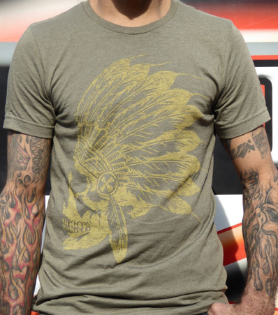 Sick Boy Motorcycles Olive Indian T-Shirt front