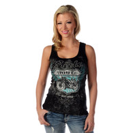 Women's Black Ride Route 66 Tank Top front
