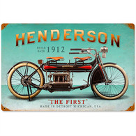 Henderson 'The First' Motorcycle Metal Sign