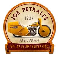 Joe Petrali's 'World's Fastest Knucklehead' Motorcycle Metal Sign