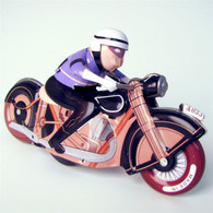 Wind Up Spin-Out Motorcycle Tin Racer