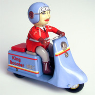 Wind Up Tin King Scooter Delivery Girl