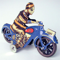 Wind Up Classic Tin Paya Blue Motorcycle