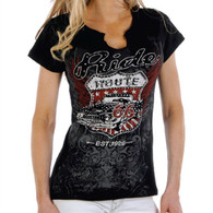 Women's Route 66 Black Cap-Sleeve V-Neck Shirt