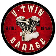 'V-Twin Garage' Metal Sign