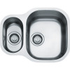 Franke Compact Undermount 1.5 Bowls Reversible Complete with template - clips and waste Stainless Steel 122.0052.092