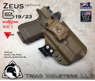 "ARES Holster shown for the Glock 19 equipped with the Surefire XC1 weapon mounted light and a RMR Optic, Right Hand Draw, in Coyote Tan, with Coyote Tan Enhanced Triad Spartan 1.5"" Clip, Zero Cant Angle"