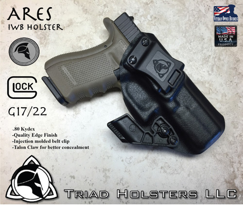 """ARES Holster shown for the Glock 22 , Right Hand Draw, in Tactical Black, with Black Enhanced Triad Spartan 1.5"""" Clip, 15 Degree Cant Angle, with Talon Claw."""