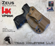 "ZEUS Holster shown for the HK VP9SK, Right Hand Draw, in Coyote Tan, with Black Enhanced Triad Spartan 1.5"" Clip, Zero Cant Angle."