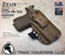 "ARES Holster shown for the Glock 19 equipped with the Inforce APLc weapon mounted light, Right Hand Draw, in Coyote Tan, with Coyote Tan Enhanced Triad Spartan 1.5"" Clip, Zero Cant Angle"