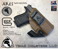 "ARES Holster shown for the Glock 19/23, Right Hand Draw, in Coyote Tan, with Black Enhanced Triad Spartan 1.5"" Clip, Zero Cant Angle."