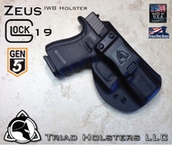 "ZEUS Holster shown for the Glock 19 Gen 5, Right Hand Draw, in Tactical Black, with Black Enhanced Triad Spartan 1.5"" Clip, Zero Cant Angle."
