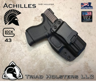 "Achilles Holster shown for the Glock 43, Right Hand Draw, in Tactical Black, with 1.75"" Clip,  Adjustable Cant Angle."