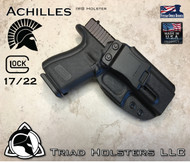"Achilles Holster shown for the Glock 22, Right Hand Draw, in Tactical Black, with 1.75"" Clip,  Adjustable Cant Angle."