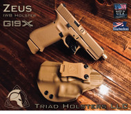"""ZEUS Holster shown for the Glock 19X, Left Hand Draw, in Coyote, with Tan Enhanced Triad Spartan 1.5"""" Clip, Zero Cant Angle."""
