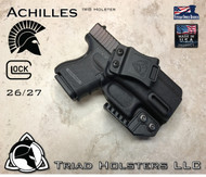 "Achilles Holster shown for the Glock 26/27, Right Hand Draw, in Tactical Black, with Triad Holsters Spartan Logo 1.5"" Belt Clip, Adjustable Cant Angle, adjusted to 15 Degree in photo, with optional Talon Claw."