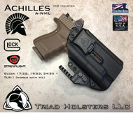 "Achilles Holster shown for the Glock 19/17/34 Various Models equipped with Streamlight TLR-1 and TLR-1HL, Right Hand Draw, in Tactical Black, with 1.5"" Clip, Adjustable Cant Angle and Retention."
