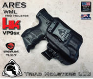 "ARES WML Holster shown for the HK VP9SK equipped with TLR-7, Right Hand Draw, in Tactical Black, with Black Enhanced Triad Spartan 1.5"" Clip, Zero Cant Angle."