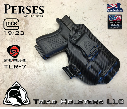 """Perses Holster shown for the Glock 19 equipped with the Streamlight TLR-7 weapon mounted light, Right Hand Draw, in Carbon Fiber, with Black Enhanced Triad Spartan 1.5"""" Clip, Zero Cant Angle"""