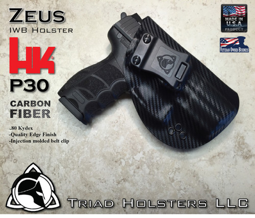"""ZEUS Holster shown for the HK P30, Right Hand Draw, in Carbon Fiber, with Black Enhanced Triad Spartan 1.5"""" Clip, Zero Cant Angle."""