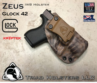 """ZEUS Holster shown for the Glock 42, Right Hand Draw, in Kryptek Banshee, with Coyote Tan Enhanced Triad Spartan 1.5"""" Clip, Zero Cant Angle."""