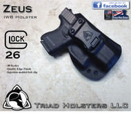 "ZEUS Holster shown for the Glock 26, Right Hand, in Tactical Black, with 1.5"" Clip, Zero Cant Angle, with Enhanced Triad Spartan Belt Clip"