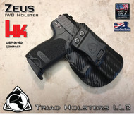 "ZEUS Holster shown for the HK USP, Right Hand, in Carbon Fiber Black, with Enhanced Triad Spartan 1.5"" Clip, Zero Degree Forward Cant angle"