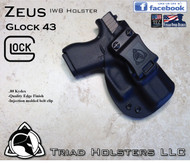 "ZEUS Holster shown for the Glock 43, Right Hand Draw, in Tactical Black, with Black Enhanced Triad Spartan 1.5"" Clip, Zero Cant Angle."