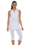 Sofibella Women's Athletic White Tennis Tank Top SFB-1669 Image 6