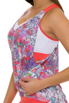 Lucky In Love Women's Outside the Lines Deep V Brallete Flame Tennis Tank LIL-CT303-143807 Image 5