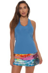 Lucky in Love Azure V-Neck Tennis Tank LIL-CT60-408-Azure Image 5