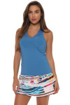 Lucky in Love Azure V-Neck Tennis Tank LIL-CT60-408-Azure Image 6