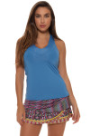 Lucky in Love Azure V-Neck Tennis Tank LIL-CT60-408-Azure Image 10