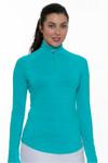 Greg Norman Womens Longsleeve Heathered Golf Shirt | Greg Norman Essentials Collection