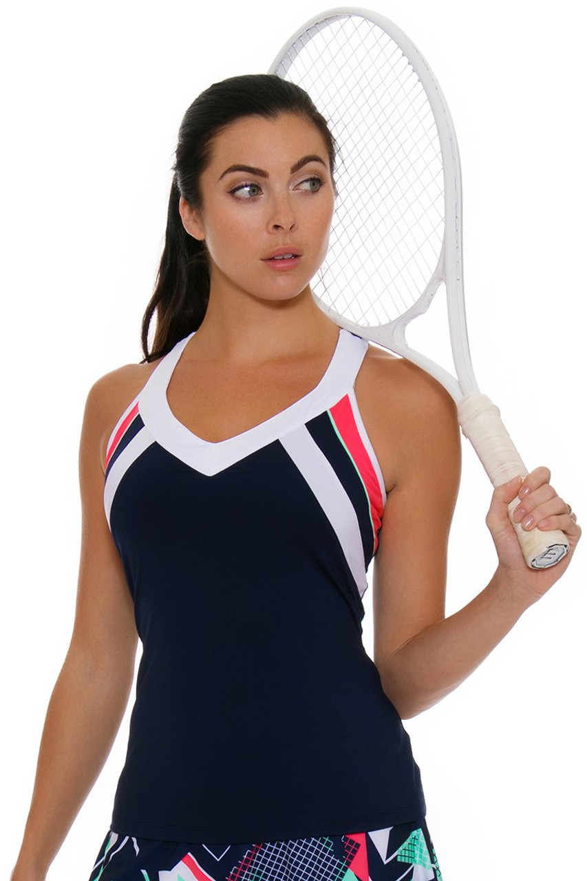 fila women clothing. fila women\u0027s heritage v- neck racerback navy tennis tank women clothing ,