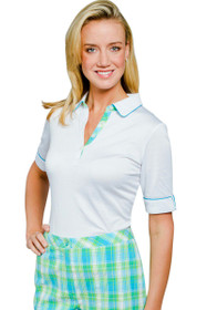 Plaid Trimmed Tour-Dry® Polo