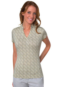 Short Sleeve Houndstooth Print Polo