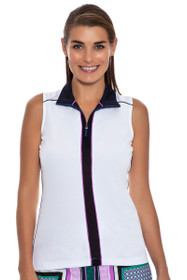 Vertical Color Blocked Sleeveless Golf Polo Shirt