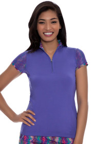 EP Sport Women's Kasbah Amulet Mesh Overlay Golf Polo Shirt