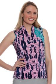 Jamie Sadock Women's Doll Face Digital Animal Print Golf Sleeveless Shirt