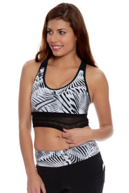 New Balance Women's Black-White Printed Sports Bra Crop